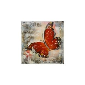 Tablou pictat manual Butterfly rosu, 40x40cm imagine