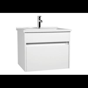 Set mobilier Vitra S50+ dulap baza cu 1 sertar alb lucios sifon si lavoar 60cm imagine