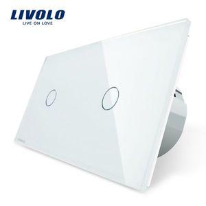 Intrerupator simplu + simplu cu touch Livolo din sticla imagine