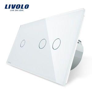 Intrerupator simplu + dublu cu touch Livolo din sticla imagine