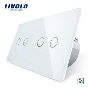 Intrerupator dublu + dublu cu touch Wireless Livolo din sticla imagine
