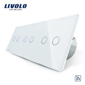 Intrerupator dublu+dublu+dublu cu touch Wireless Livolo din sticla imagine