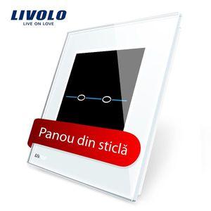Panou intrerupator dublu cu touch Livolo din sticla – Seria R imagine