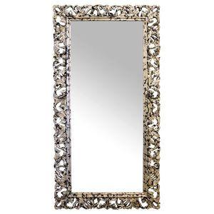 Oglinda retro din polirasina argintiu cu negru imagine