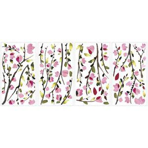 Sticker decorativ PINK BLOSSOM BRANCHES | 4 colite de 25, 4 cm x 45, 7 cm imagine