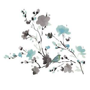 Sticker decorativ BLOSSOM WATERCOLOR BIRD BRANCH | 83, 8 x 67, 9 cm imagine