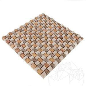 Mozaic Travertin Classic-Noce-Yellow Sugar Antichizat imagine