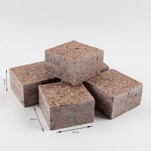 Piatra Cubica Granit Maple Red Fatetata 4 laterale 10 x 10 x 5 cm imagine