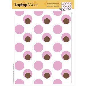 Sticker laptop PINK & BROWN DOTS   31 x 24 cm imagine
