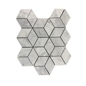 Mozaic Marmura Bianco Carrara Cube Design Mata imagine