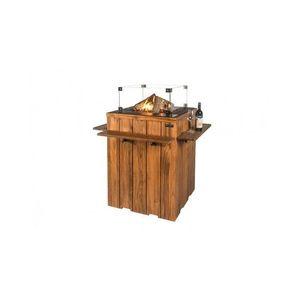 Masa de bar Happy Cocooning din lemn de tec, cu arzator gri imagine