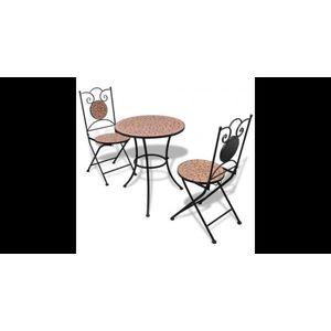 Masa bistro mozaic 60 cm cu 2 scaune aspect teracota imagine