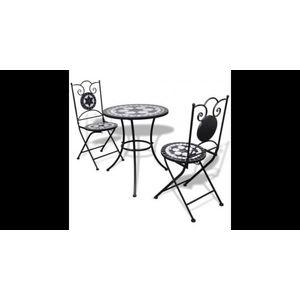 Masa bistro mozaic 60 cm, 2 scaune, negru/alb imagine