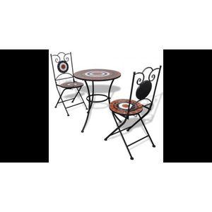 Masa bistro mozaic 60 cm, 2 scaune, teracota/alb imagine
