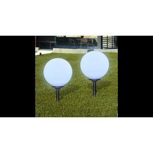 Lampi solare de gradina in forma de glob cu tepusa LED 2 buc. imagine
