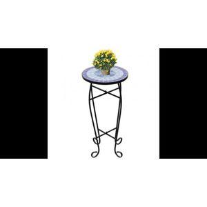 Masa cu blat ceramic, Albastru-Alb imagine