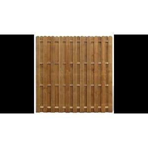 Panou gard din lemn cu sipci suprapuse imagine