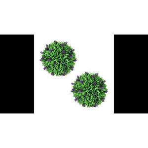 Set de 2 sfere de iarba artificiala si lavanda 36 cm imagine