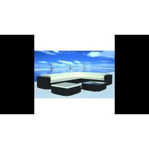 Set mobilier de gradina din poliratan 24 piese Negru imagine