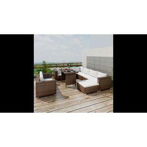 Set mobilier de grădină cu perne, 5 piese, maro, poliratan imagine