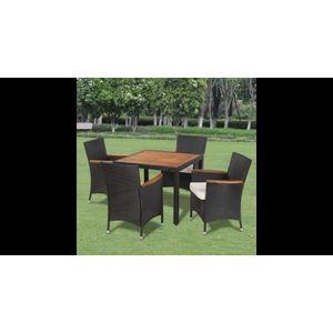 Set mobilier de gradina din ratan cu 4 scaune si masa cu blat de lemn imagine