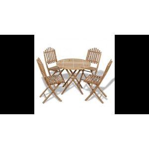 Set mobilier exterior pliabil din bambus 1 masa+4 scaune imagine