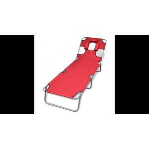 sezlong rosu pliabil pentru plaja, cu tetiera si spatar reglabil imagine