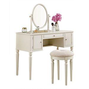Masă de toaletă cu oglindă și taburet, alb imagine