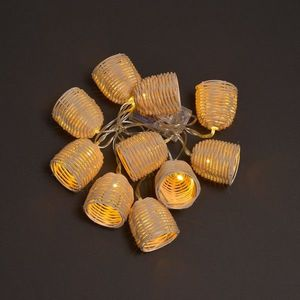 Ghirlanda de 10 lampi din ratan impletit | La Chaise Longue imagine