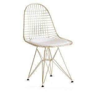 Scaun din metal de culoare aurie cu sezut alb, Doris imagine