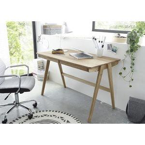 Masa de birou Delia cu 2 sertare, din lemn de stejar, L120xI75xA865 cm imagine