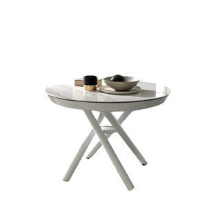 Masa de cafea transformabila din ceramica, Helios White imagine