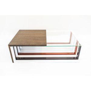 Masa de cafea din sticla si metal, Echo H L97xl58xH27, 3 cm imagine