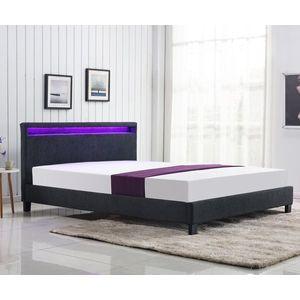 Pat tapitat cu stifa si iluminat LED, Arda Dark Grey 160x200 cm imagine