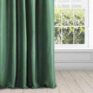 Draperie confectionata din poliester lucios si cu banda decorativa de strangere, Essme Green 140x270 cm imagine