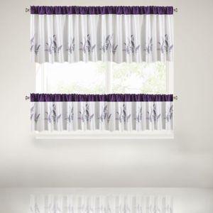 Perdea din poliester cu imprimeu de lavanda si cu o bara metalica de strangere, Adria Purple 30x150 cm imagine