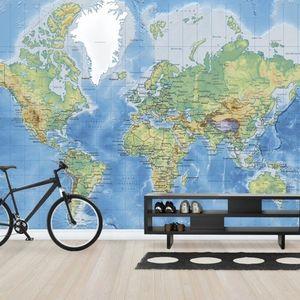 Fototapet Harta Lumii Detaliată - Fără drumuri, personalizat, Photowall imagine