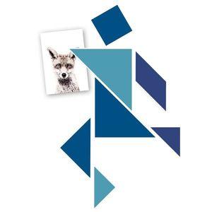 Magneți frigider / tapet magnetic - tangram albastru imagine