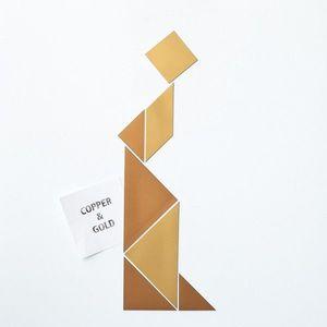 Magneți frigider / tapet magnetic - tangram cupru/aur imagine