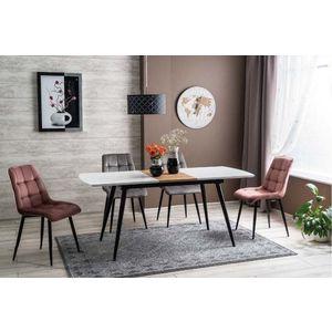 Set masa extensibila din MDF, pal si metal Destiny Alb / Negru + 2 scaune tapitate Leya Velvet Roz + 2 scaune tapitate Leya Velvet Gri, L140-180xl80xH75 cm imagine