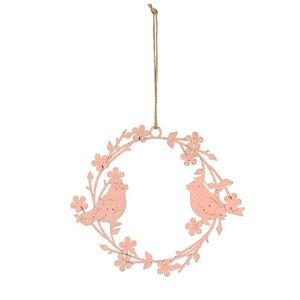 Ghirlanda Pink Bird din metal roz 20 cm imagine