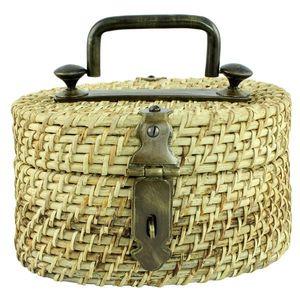 Cutie decorativa ovala din ratan maro cu maner din metal 24x17 cm imagine