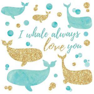 Sticker I WHALE ALWAYS LOVE YOU cu sclipici | 4 colite de 22, 8 cm x 44, 1 cm imagine