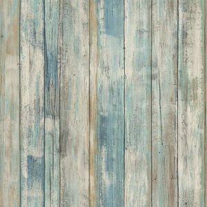 Tapet autoadeziv BLUE DISTRESSED WOOD | RMK9052WP imagine