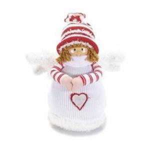 Figurina Inger portelan textil alb rosu 25 cm imagine