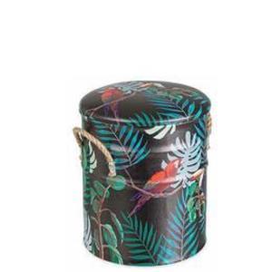 Taburet cu spatiu depozitare piele ecologica Forest Diametru 27 cm x 32 h imagine