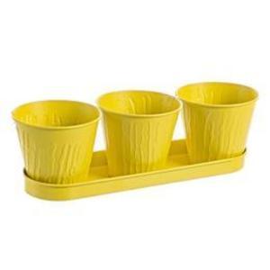Ghiveci metal galben pentru flori triplu 36x12x10h imagine