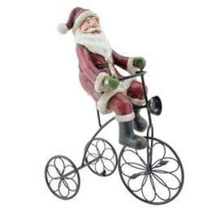 Figurina Mos Craciun cu tricicleta polirasina 20x10x26 cm imagine