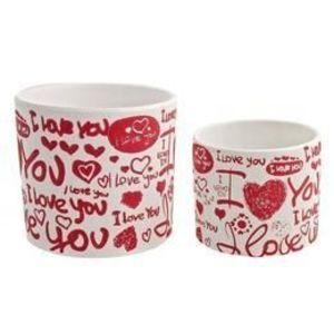 Set 2 ghivece ovale ceramica alba rosie Love imagine