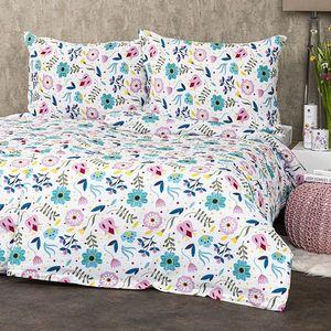 Lenjerie crep 4Home Flowers, 220 x 200 cm, 2 buc. 70 x 90 cm imagine